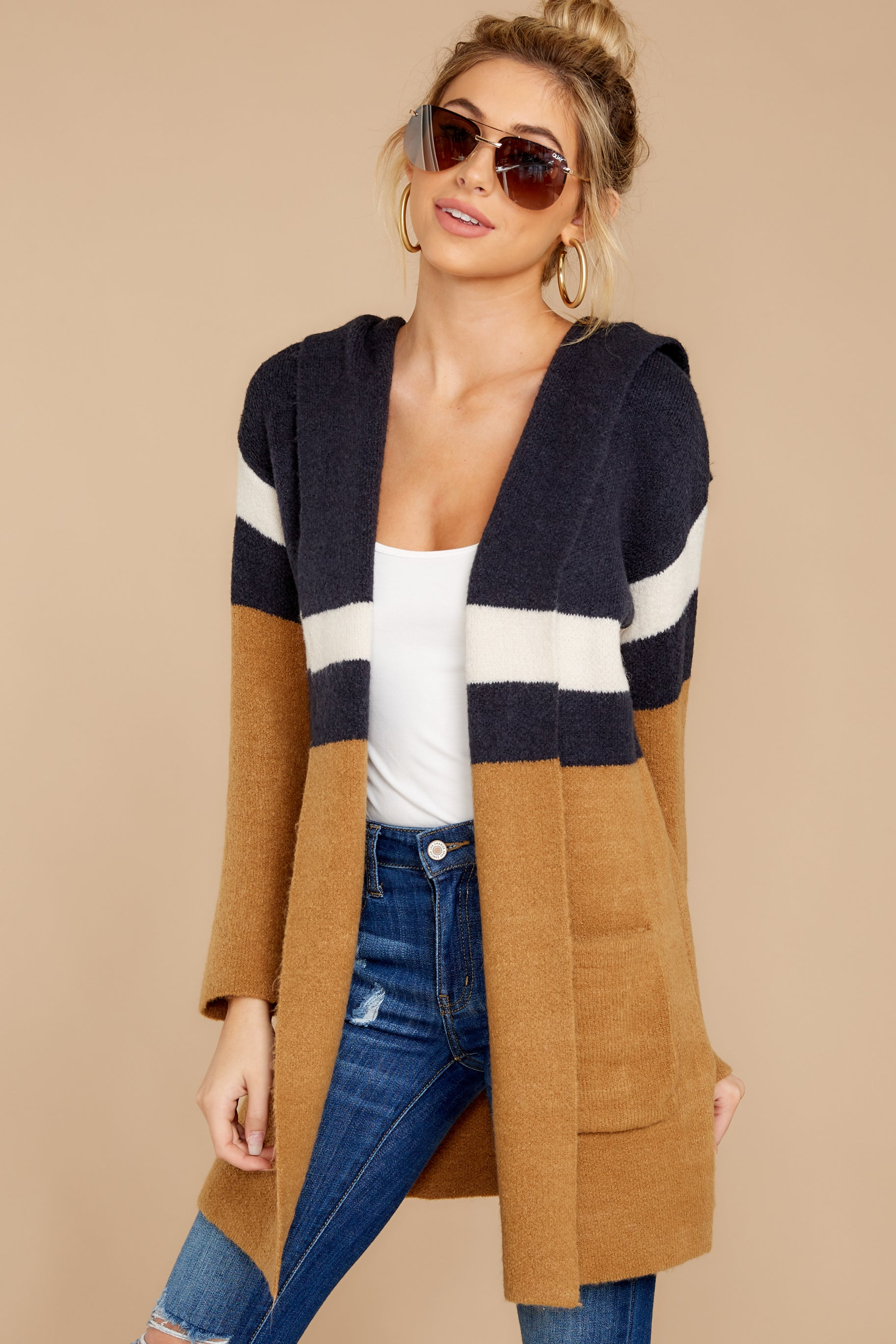 7 Early Morning Camel And Navy Striped Cardigan at reddressboutique.com