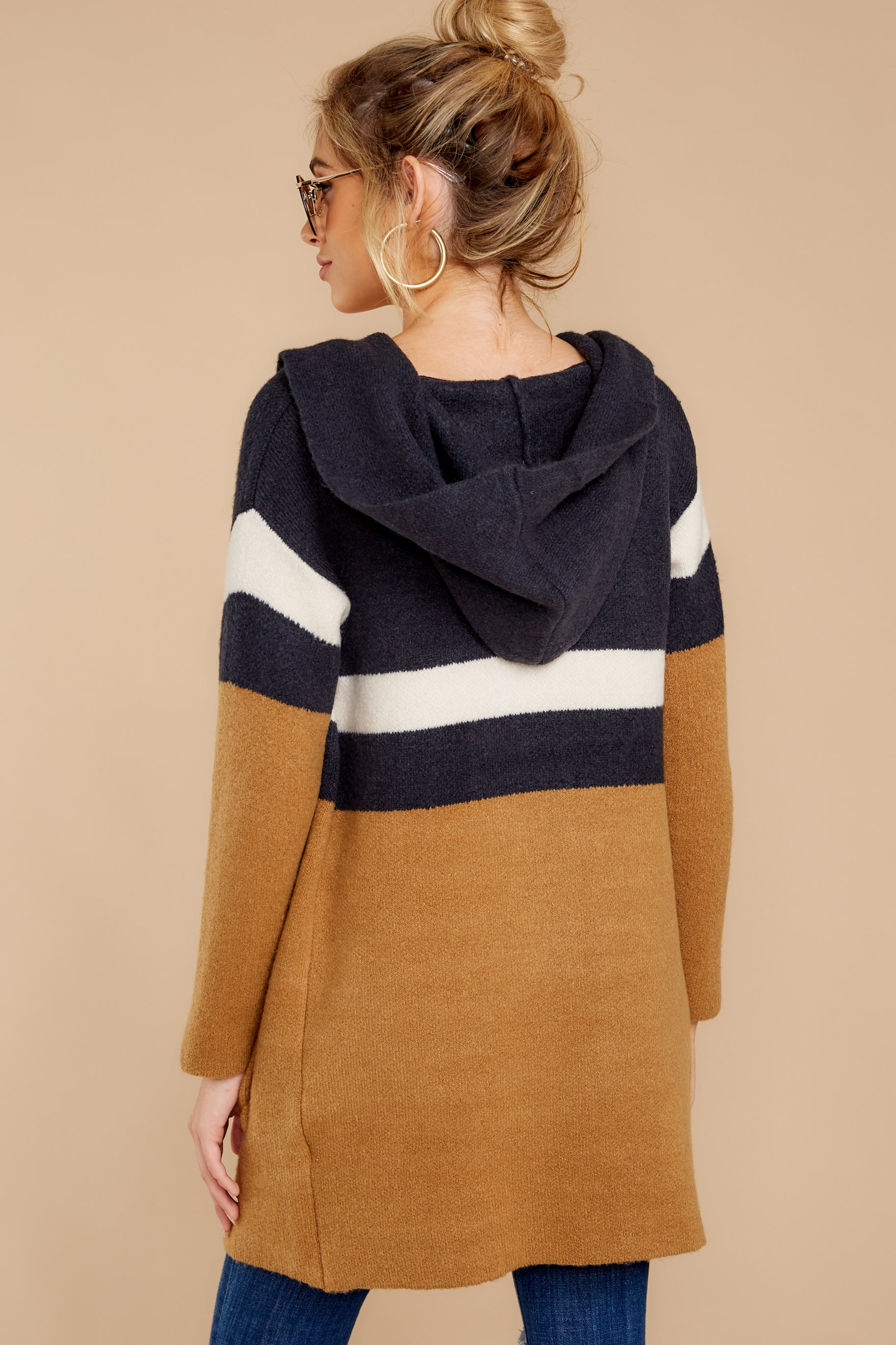 8 Early Morning Camel And Navy Striped Cardigan at reddressboutique.com