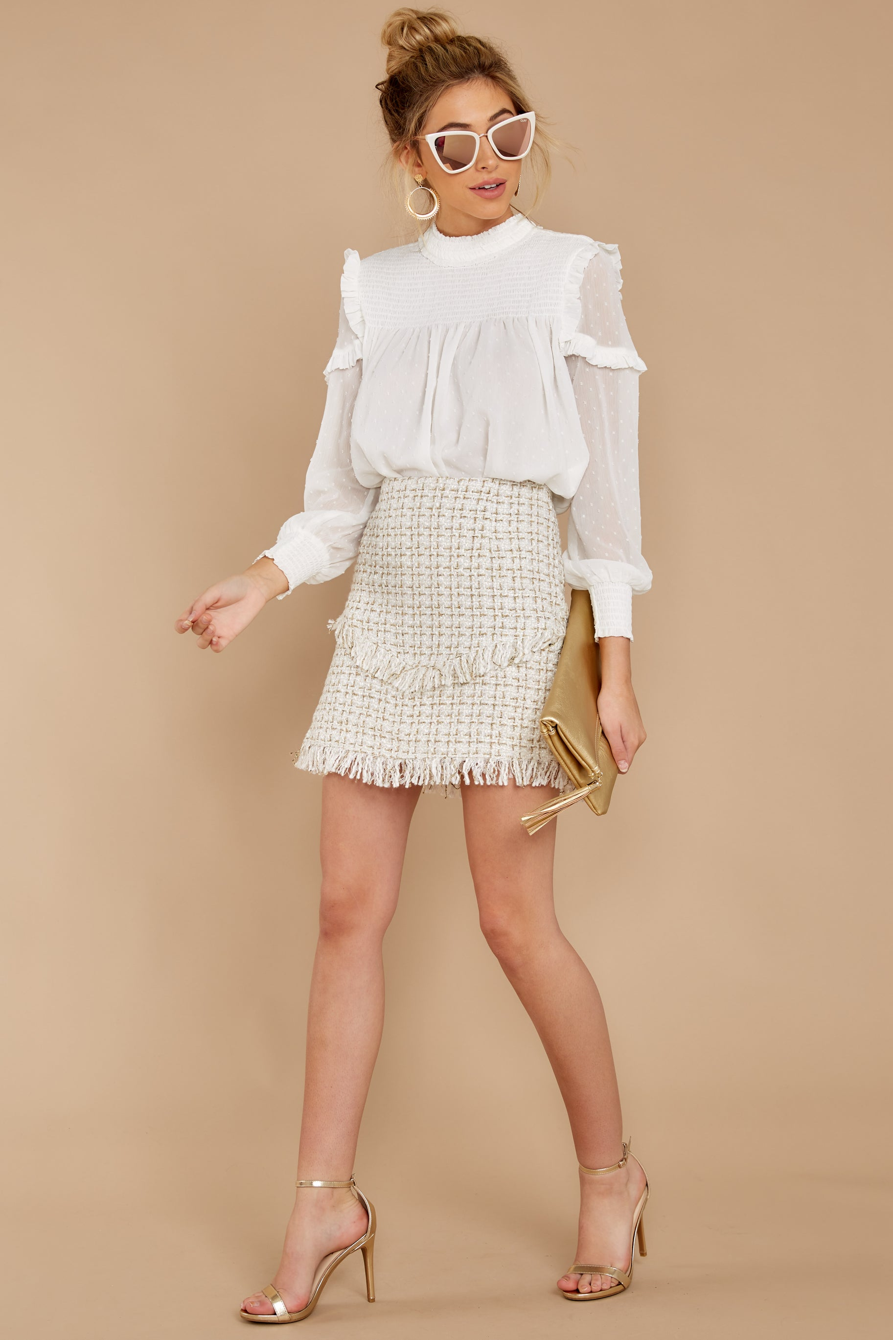Blissful Moment Cream Multi Tweed Skirt