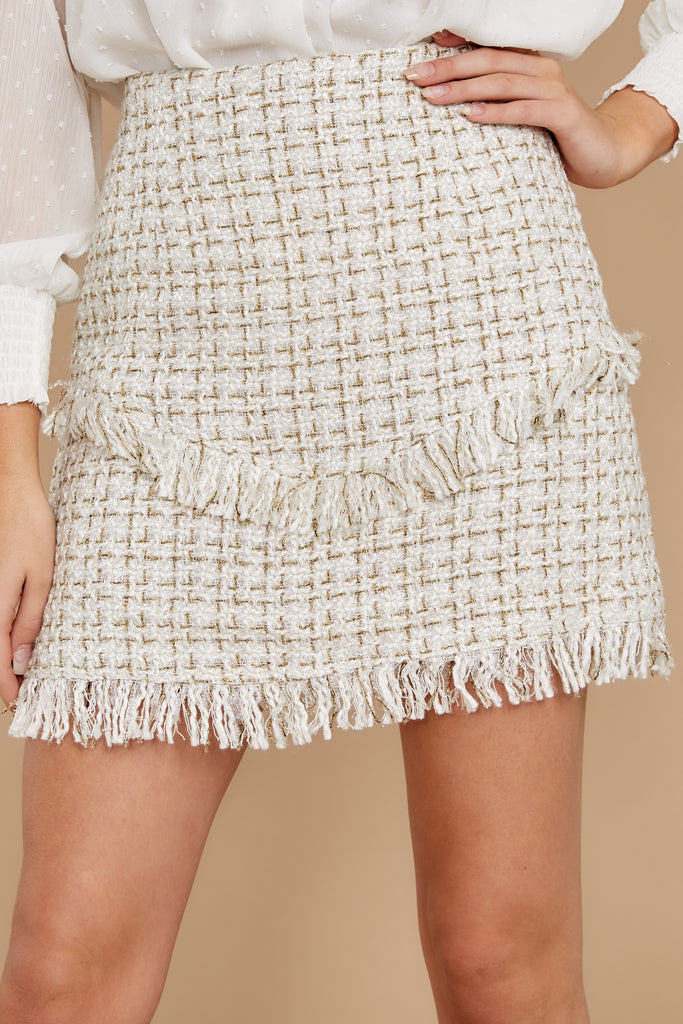 Blissful Moment Cream Multi Tweed Skirt by Ina Fashion