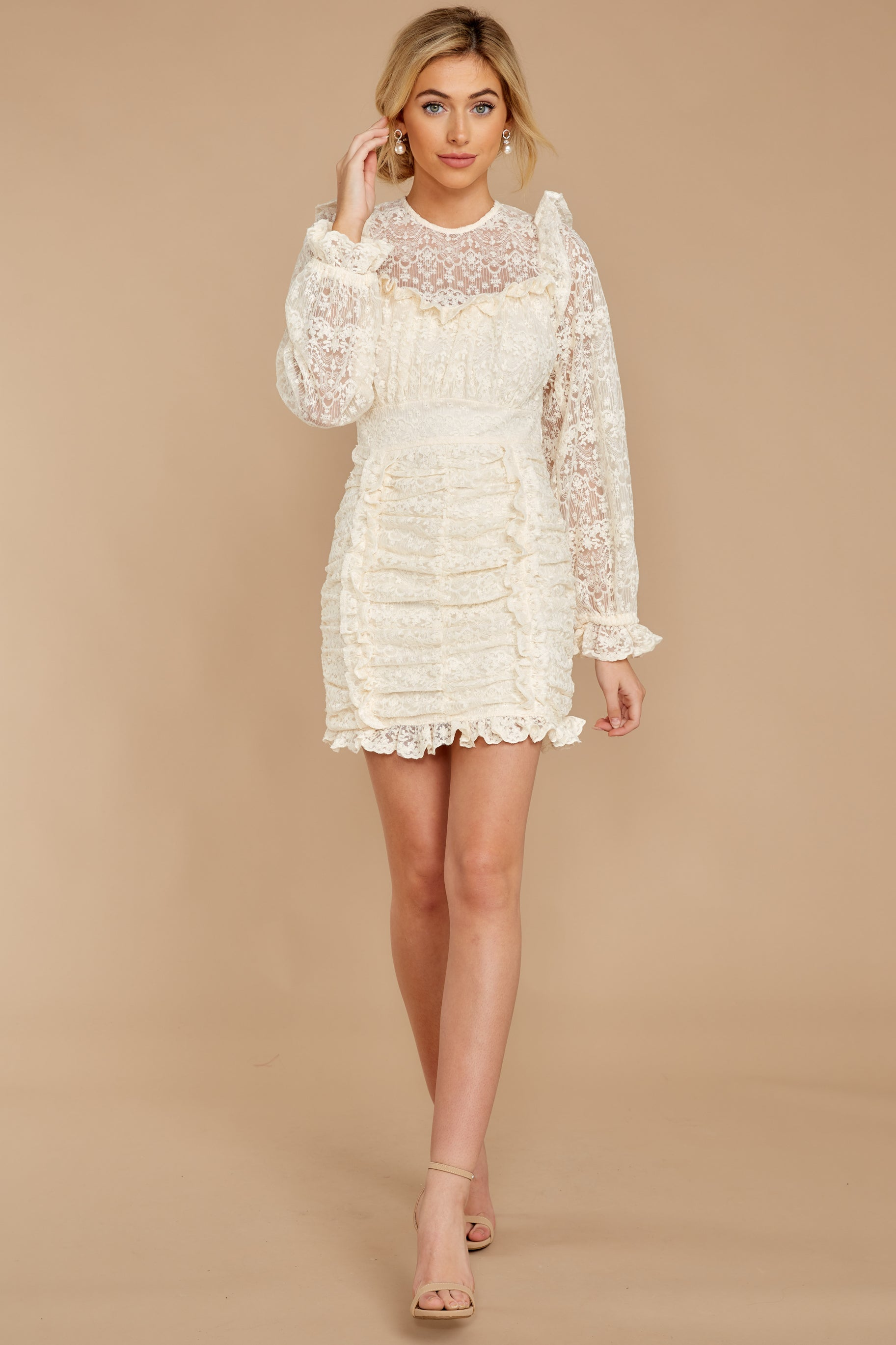 3 Talk About Love Cream Lace Dress at reddress.com