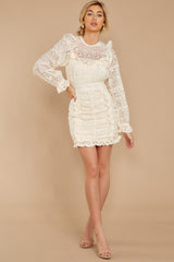 4 Talk About Love Cream Lace Dress at reddress.com