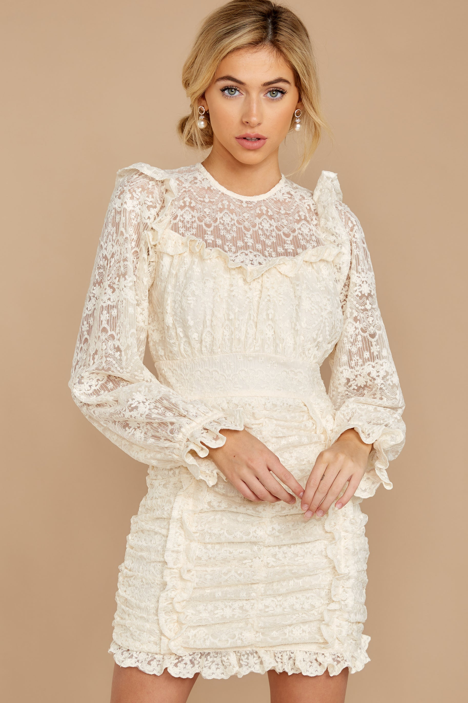 6 Talk About Love Cream Lace Dress at reddress.com