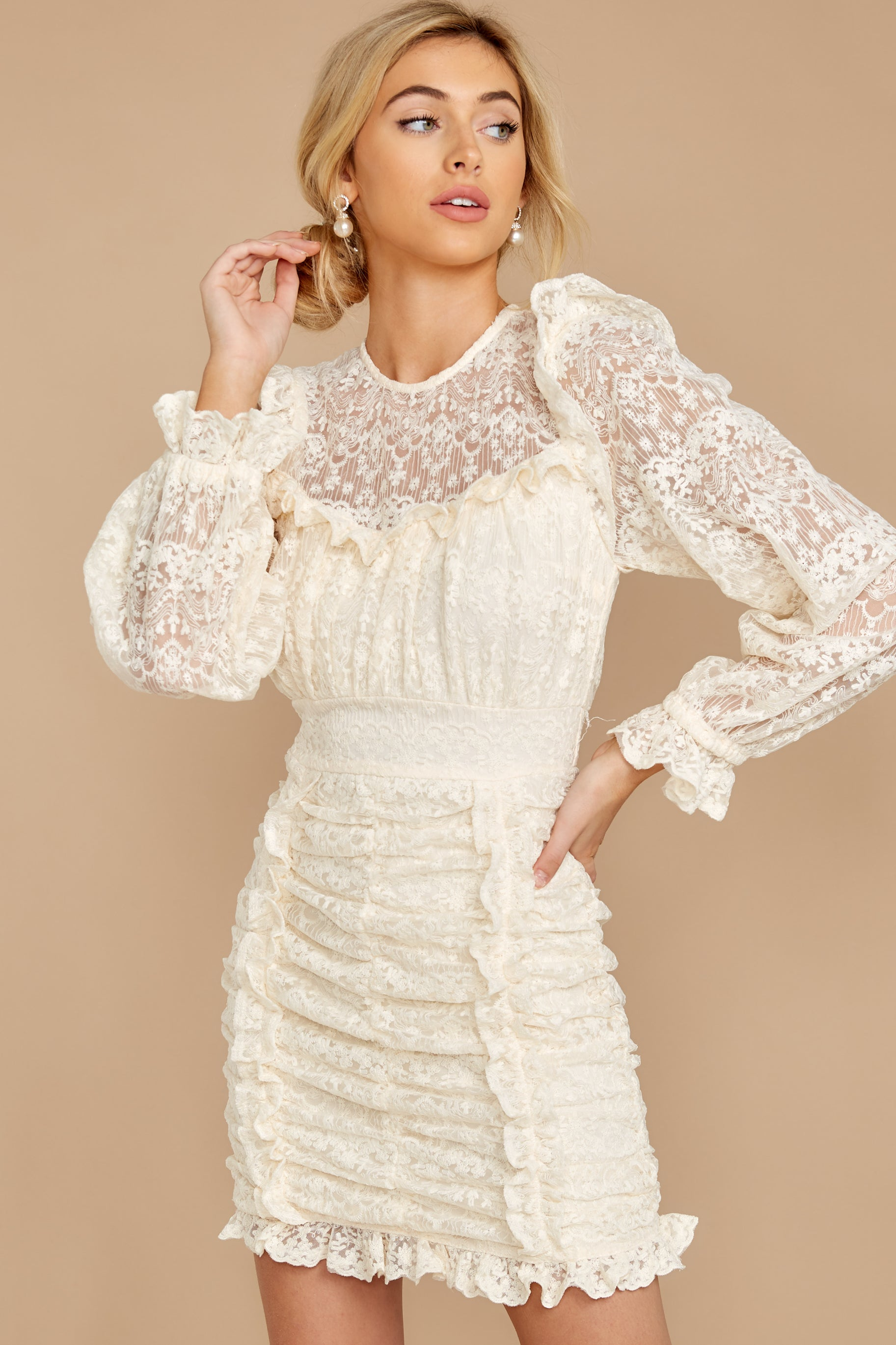 7 Talk About Love Cream Lace Dress at reddress.com