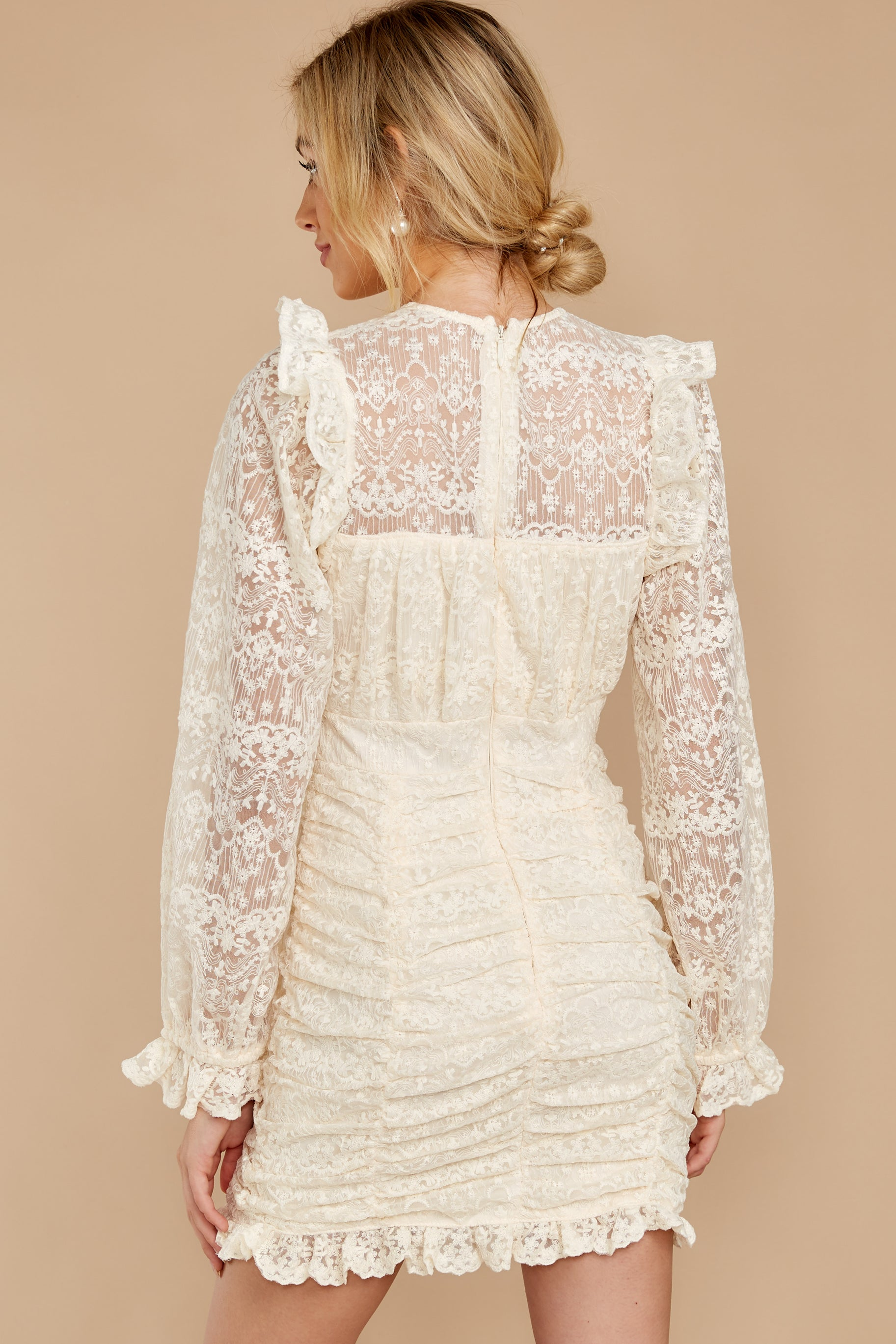 8 Talk About Love Cream Lace Dress at reddress.com