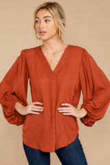 6 Around The Corner Rust Top at reddressboutique.com
