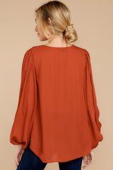8 Around The Corner Rust Top at reddressboutique.com