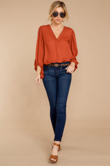3 Around The Corner Rust Top at reddressboutique.com