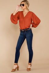1 Around The Corner Rust Top at reddressboutique.com
