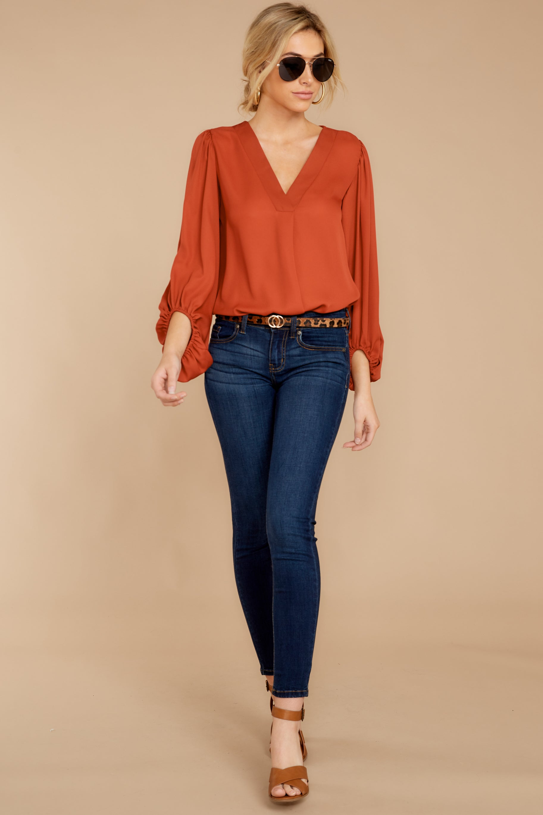 2 Around The Corner Rust Top at reddressboutique.com