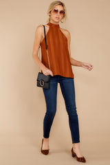 1 Hide And Chic Brown Top at reddressboutique.com