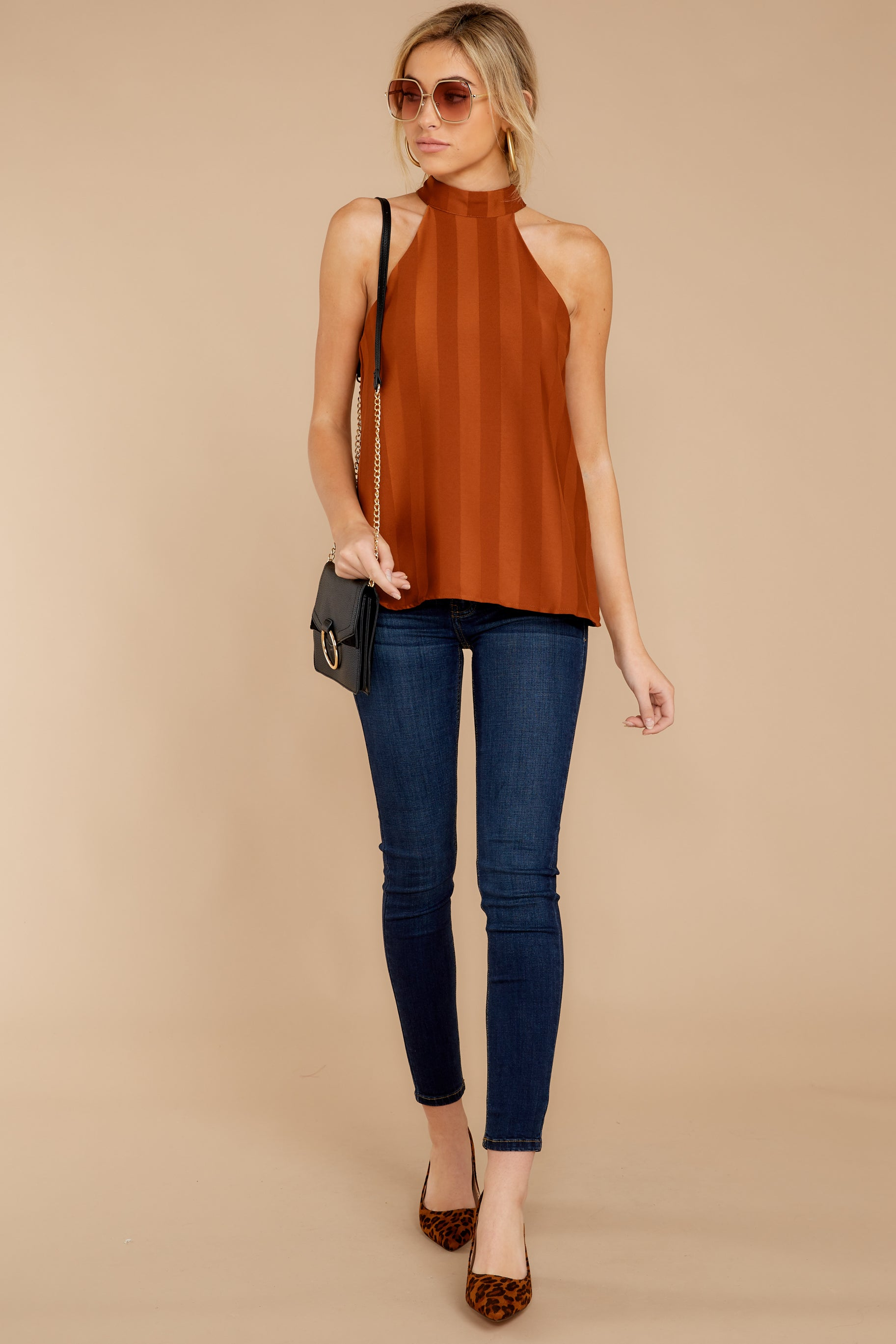 2 Hide And Chic Brown Top at reddressboutique.com