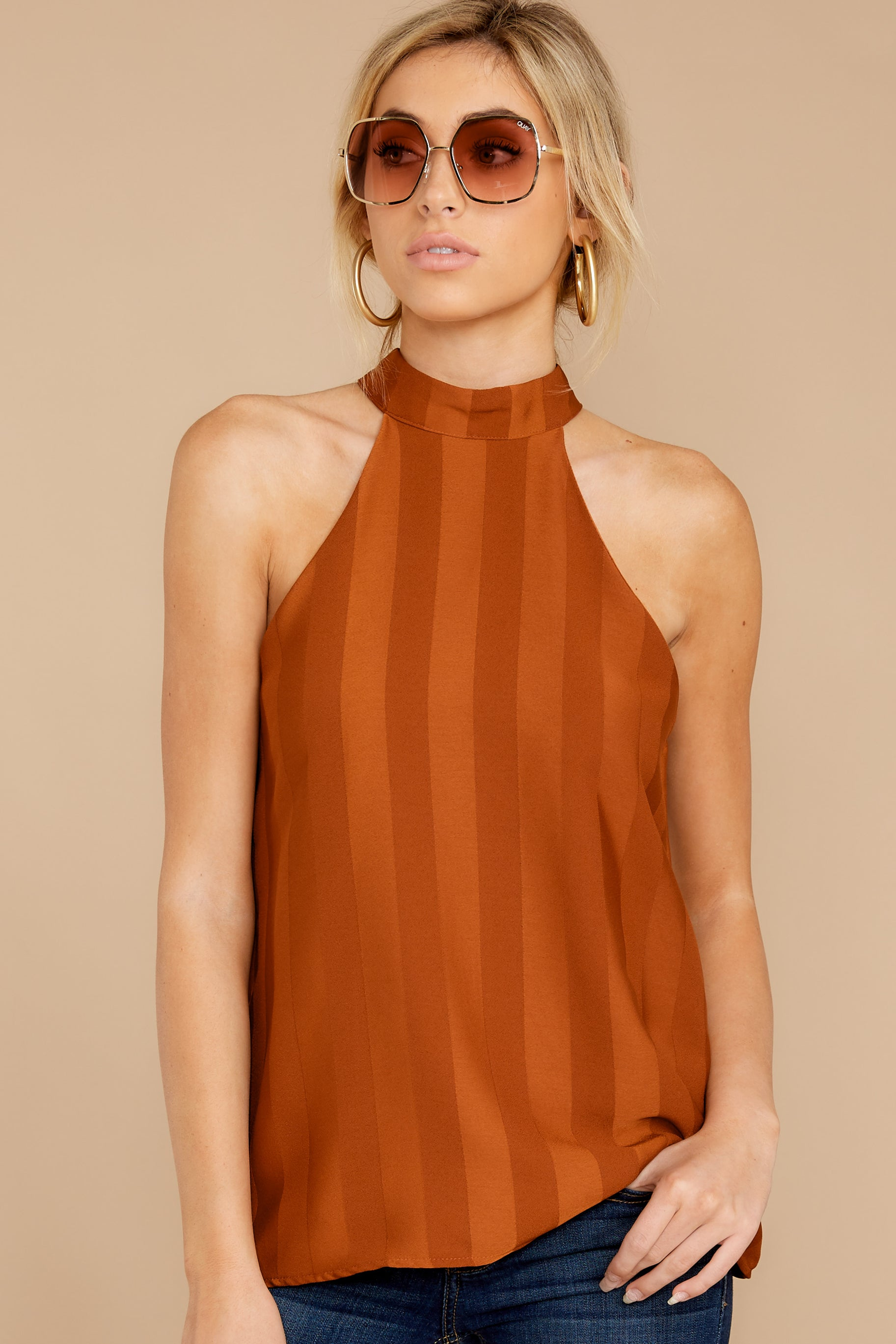 5 Hide And Chic Brown Top at reddressboutique.com
