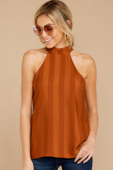 6 Hide And Chic Brown Top at reddressboutique.com