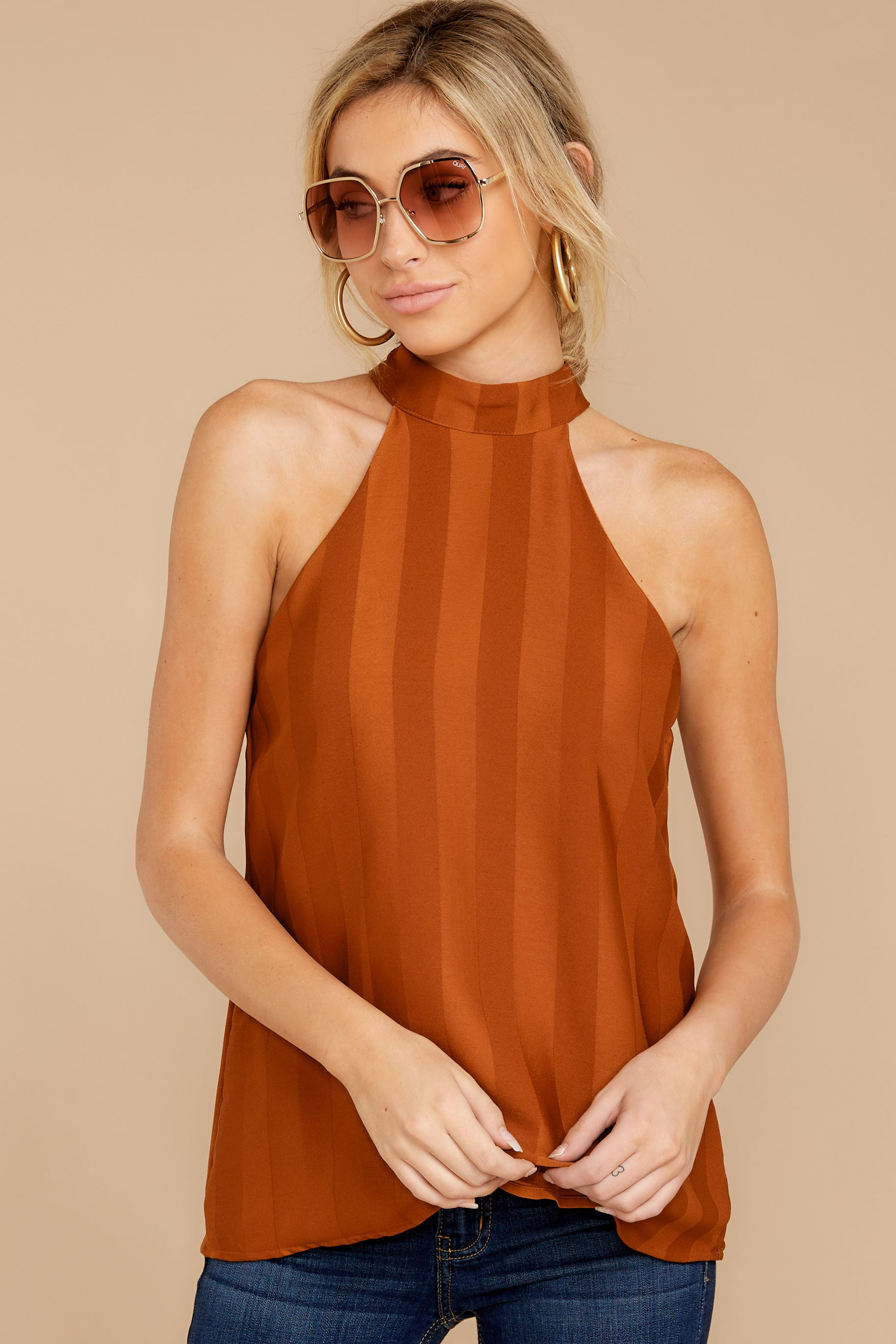 3 Hide And Chic Brown Top at reddressboutique.com