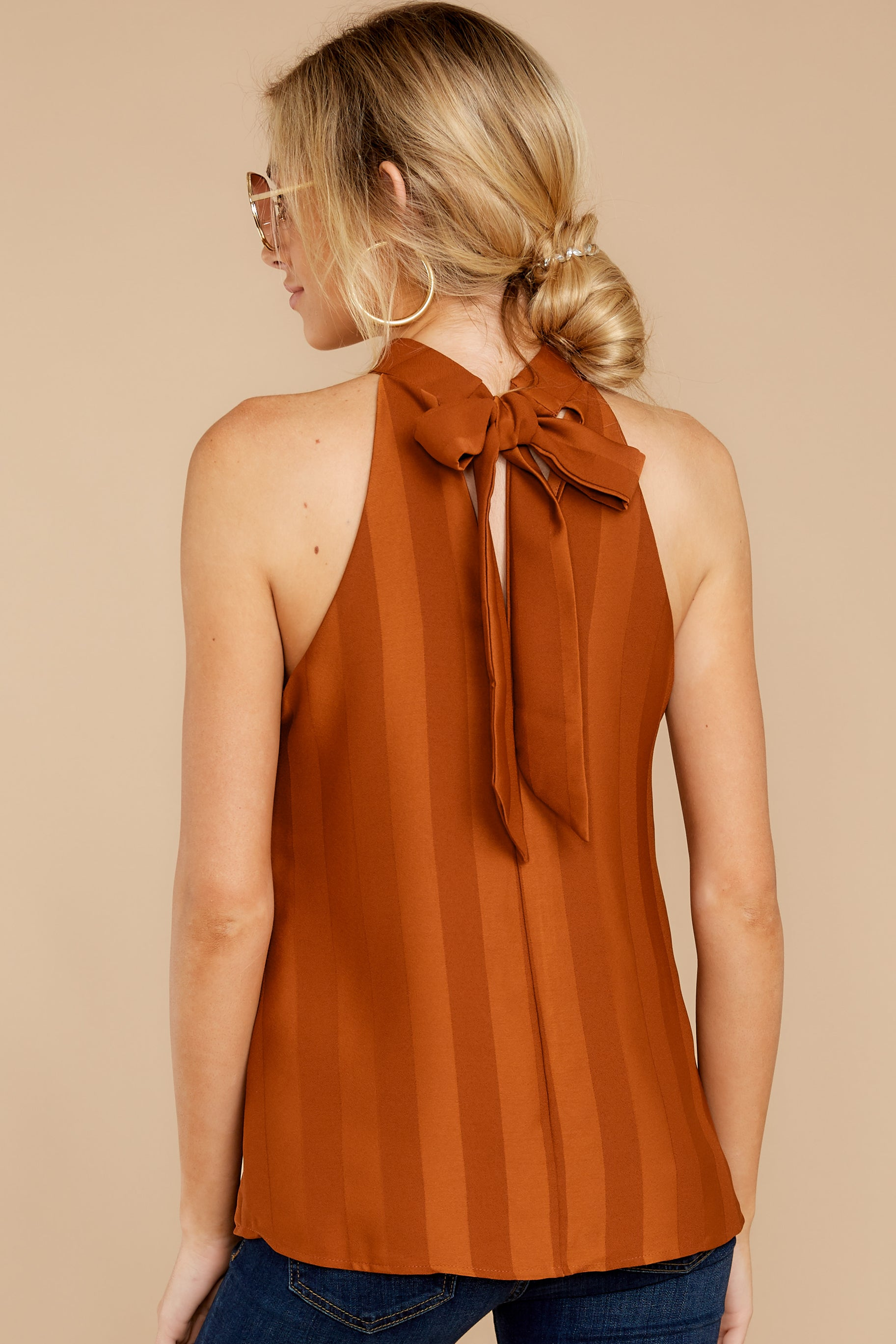 8 Hide And Chic Brown Top at reddressboutique.com