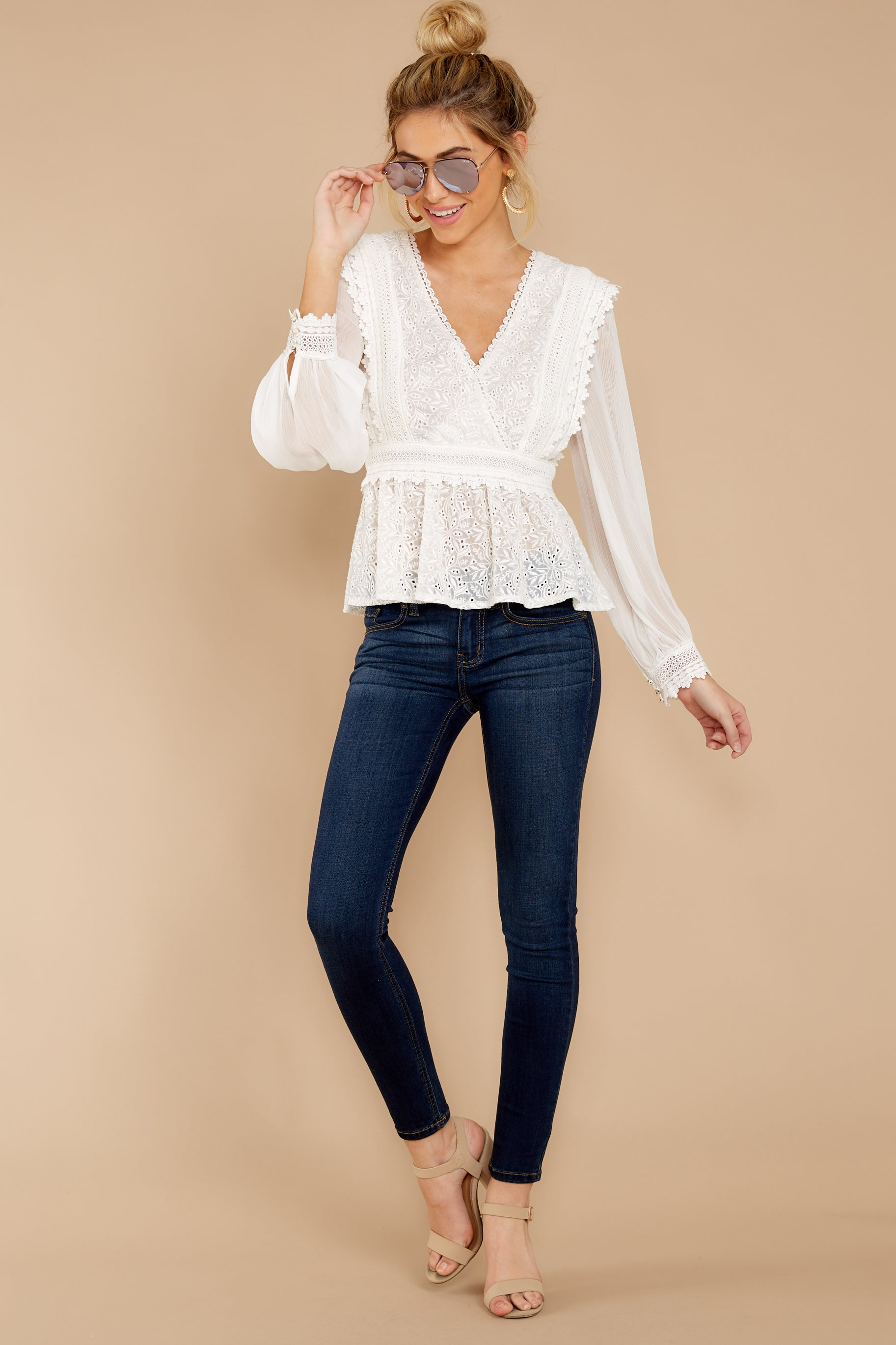 2 Sweet Muse Ivory Lace Top at reddressboutique.com
