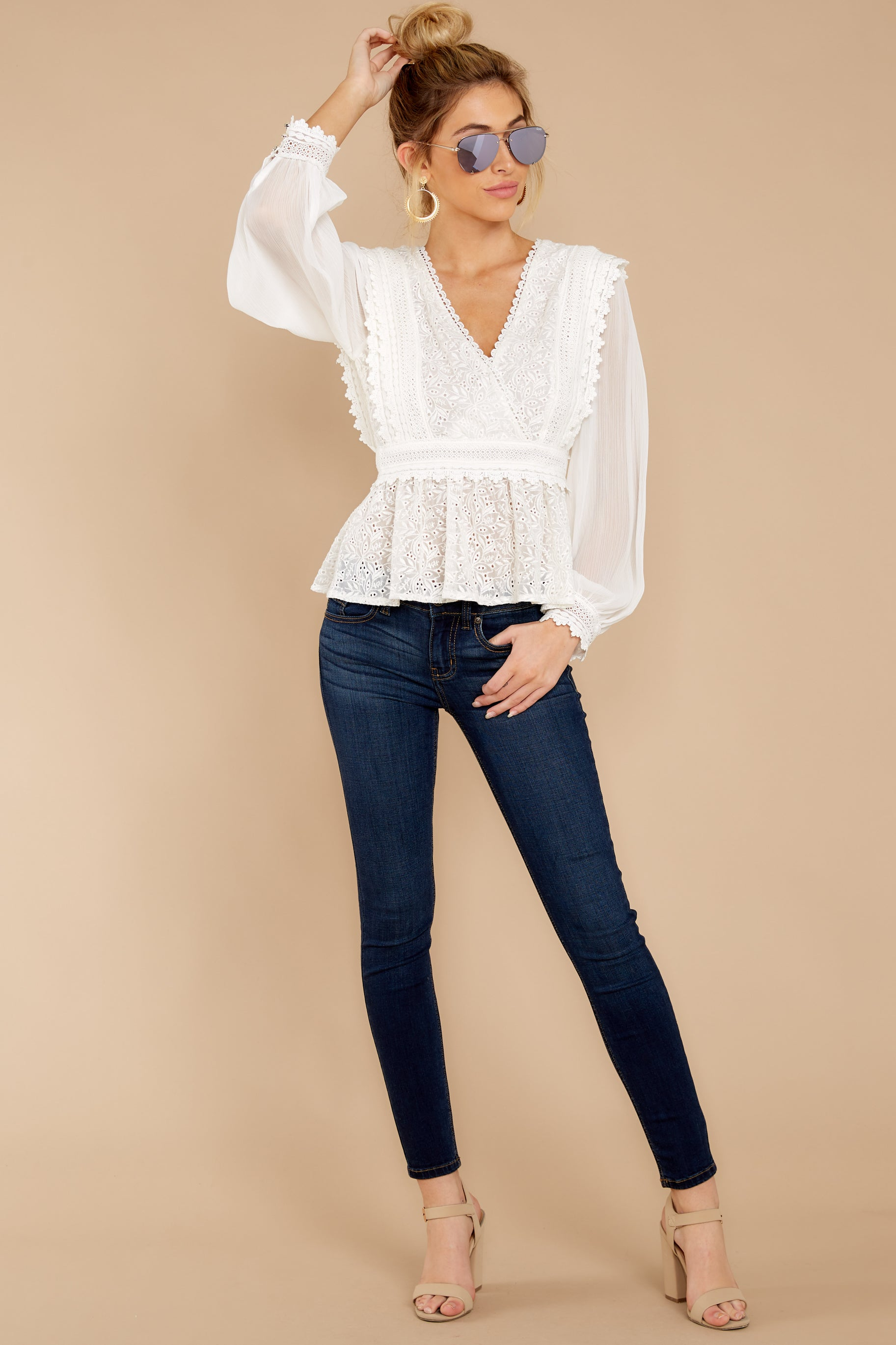 3 Sweet Muse Ivory Lace Top at reddressboutique.com