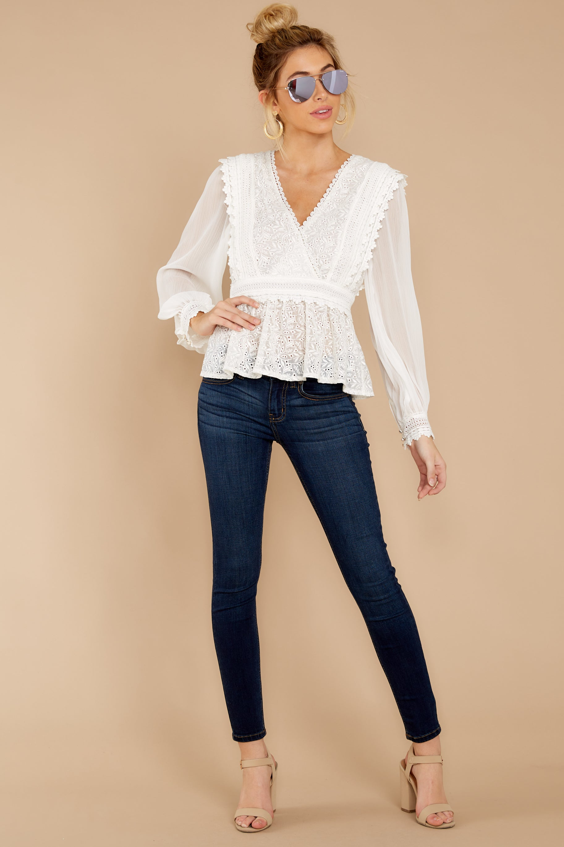 4 Sweet Muse Ivory Lace Top at reddressboutique.com