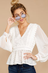 6 Sweet Muse Ivory Lace Top at reddressboutique.com