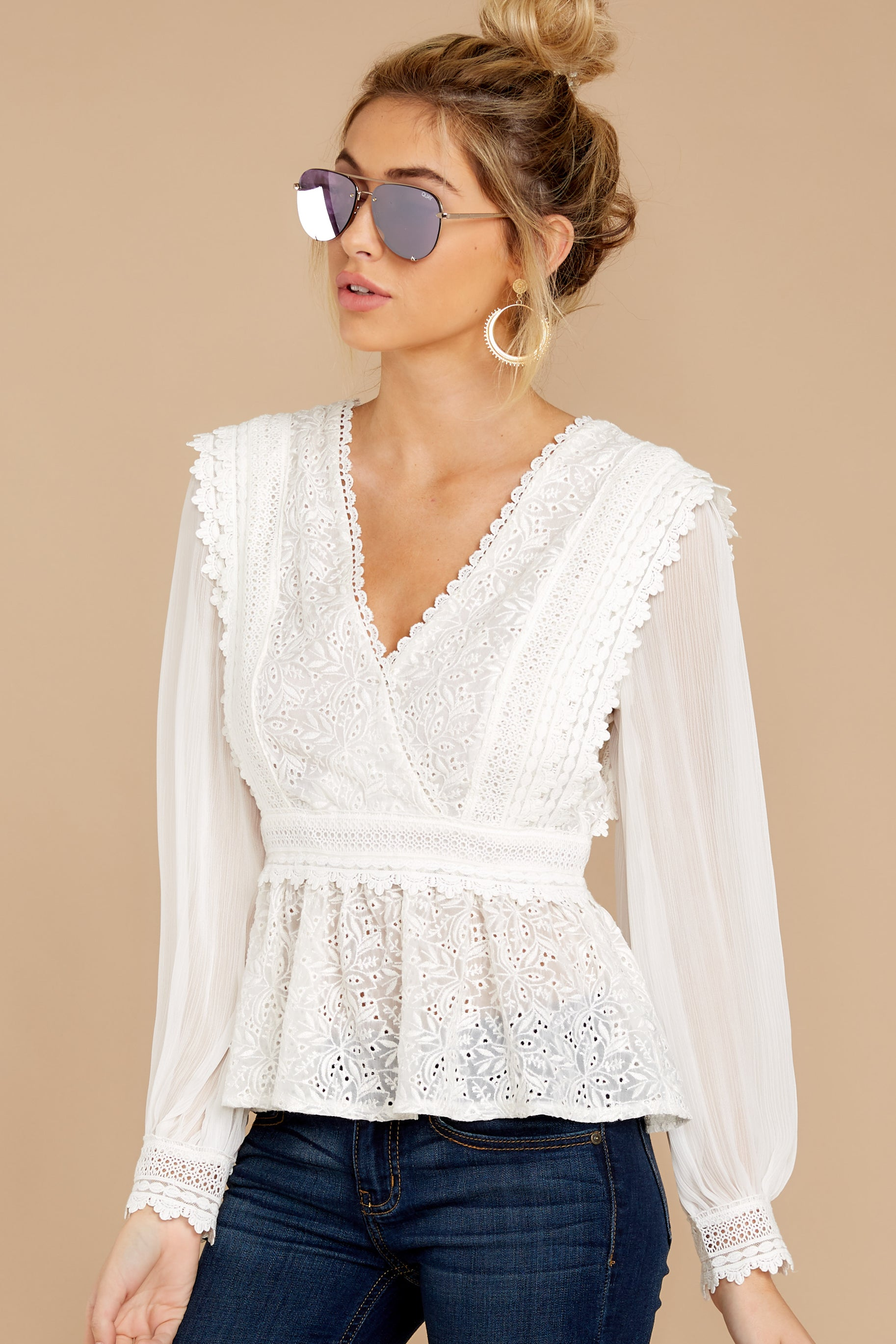 7 Sweet Muse Ivory Lace Top at reddressboutique.com