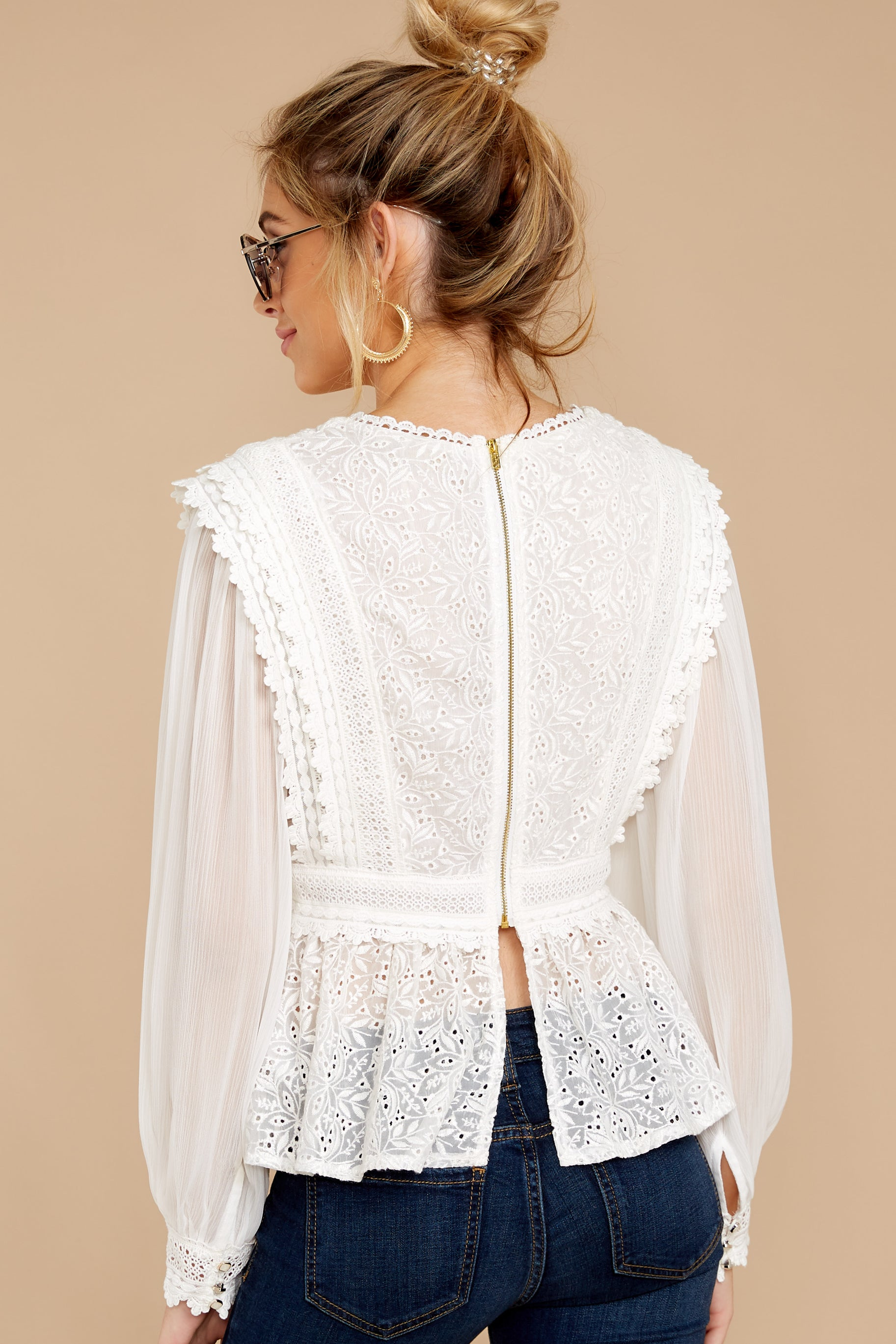 8 Sweet Muse Ivory Lace Top at reddressboutique.com