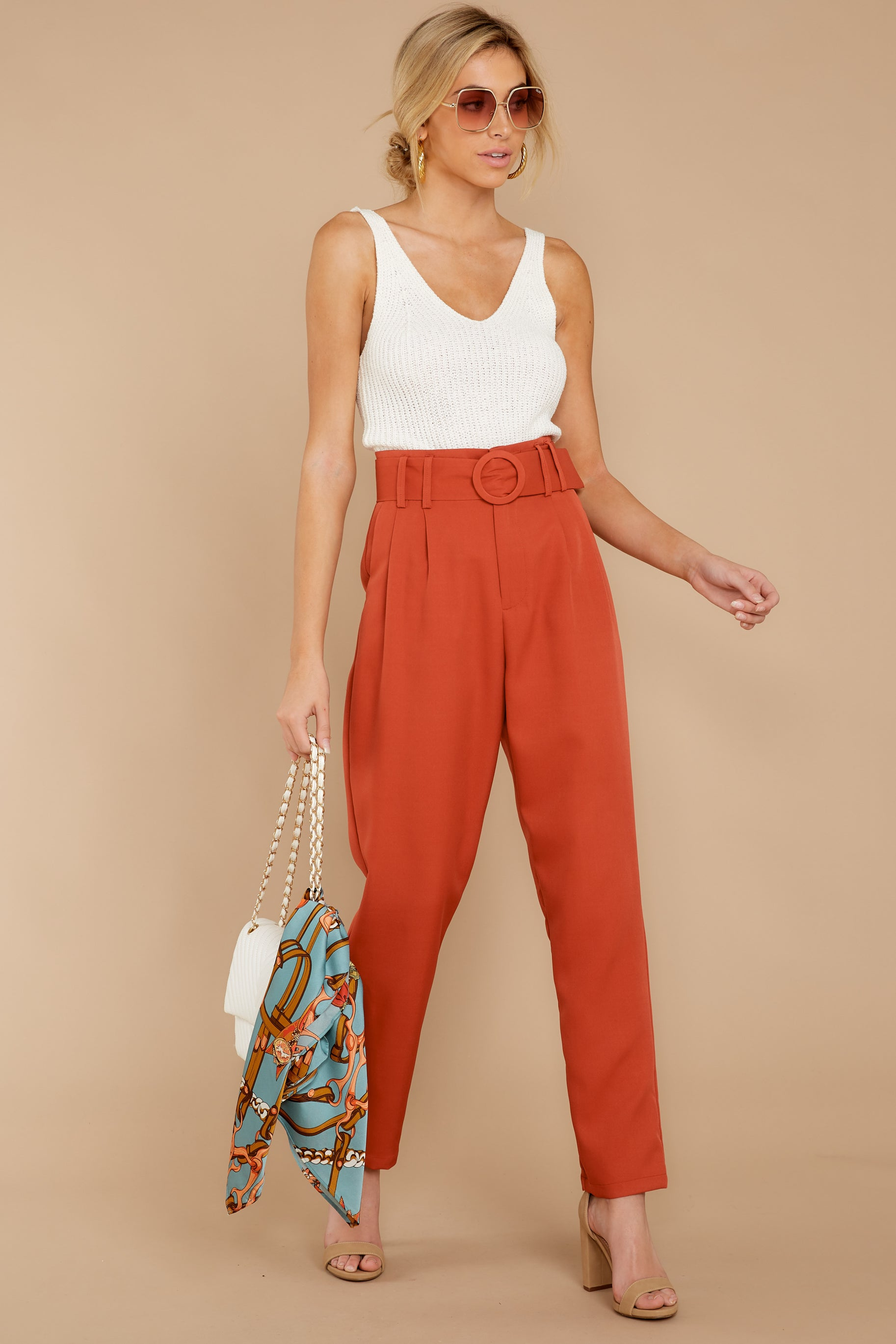 4  Into The Office Coral Orange Pants at reddressboutique.com