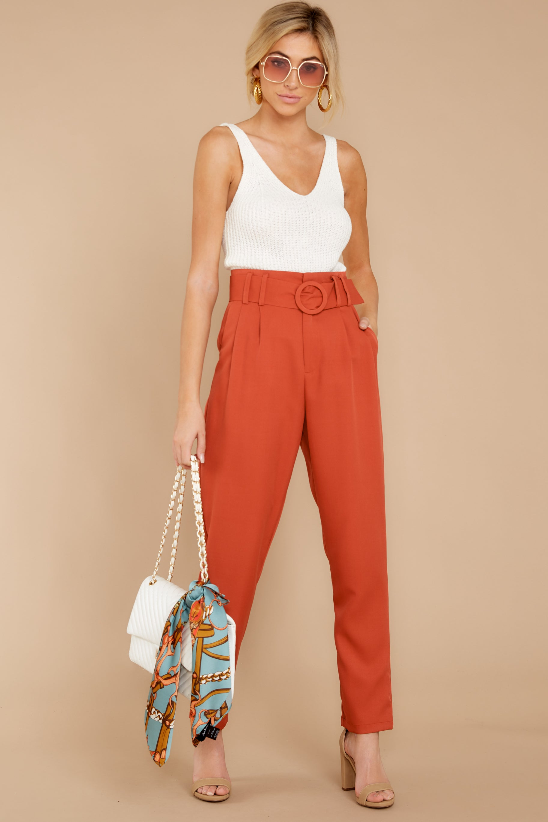 5 Into The Office Coral Orange Pants at reddressboutique.com