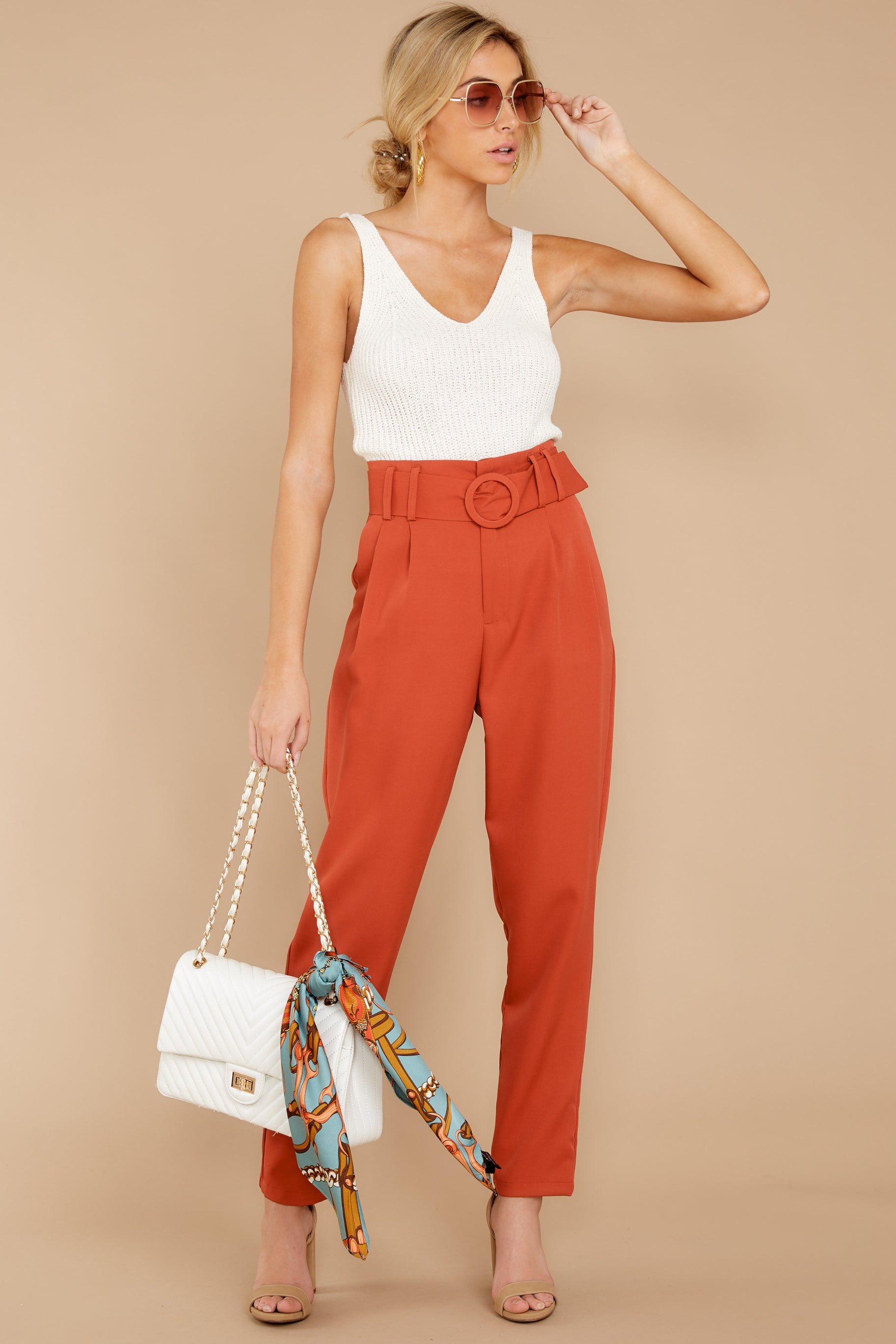 Into The Office Coral Orange Pants