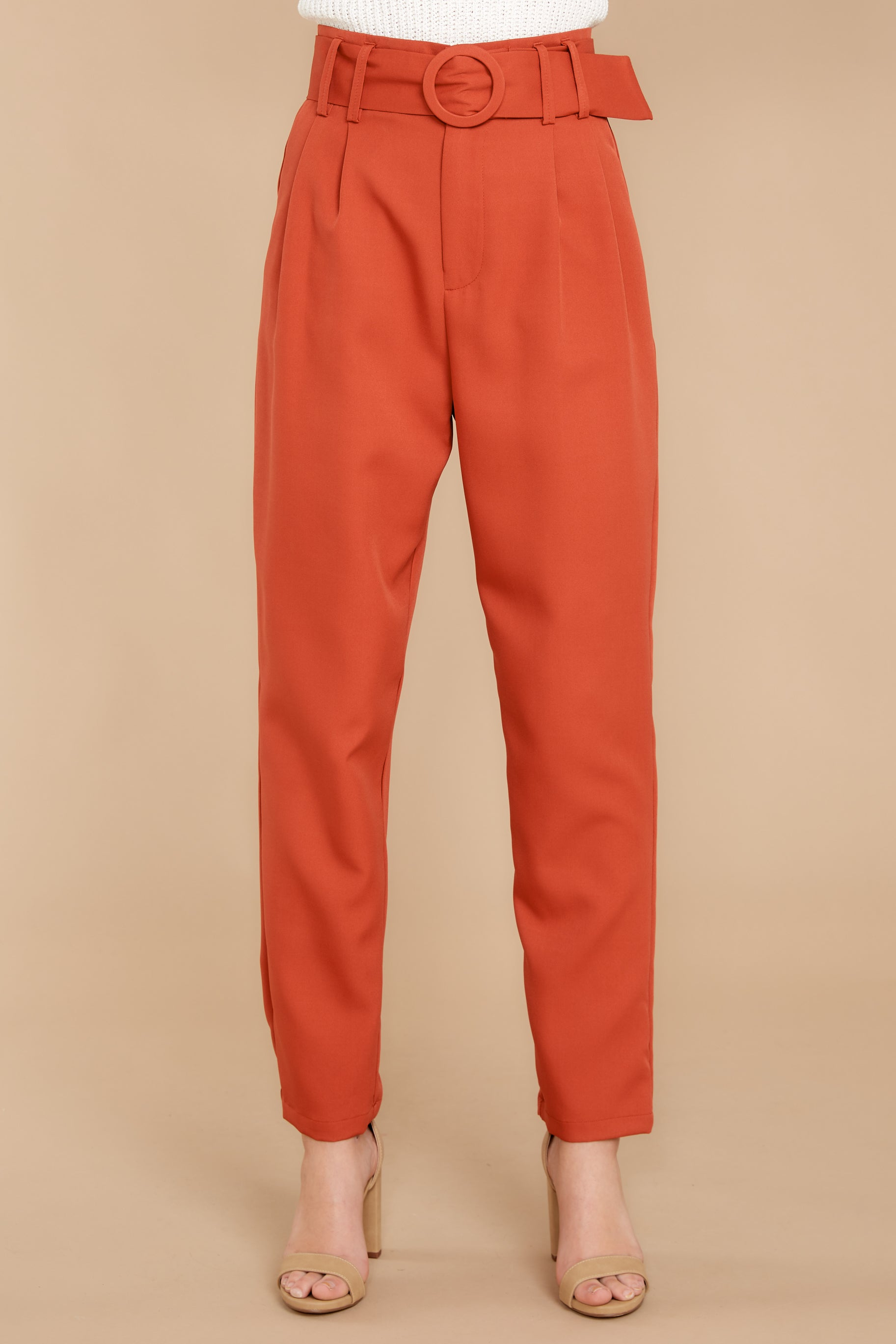 2 Into The Office Coral Orange Pants at reddressboutique.com