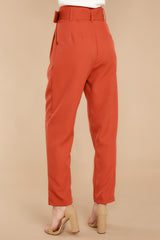 3  Into The Office Coral Orange Pants at reddressboutique.com