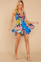 Elasticized Waistline Cowl Neck High-Low-Hem Tropical Print Rayon Open-Back Belted Flowy Dress