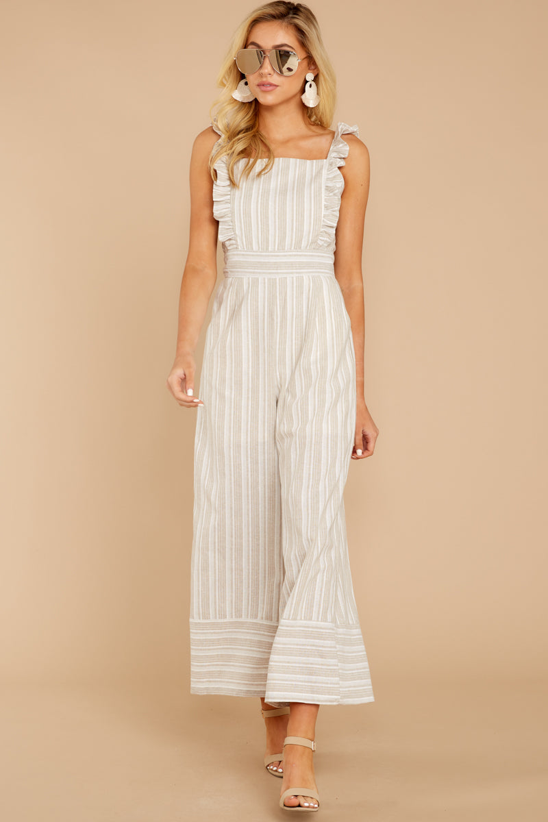 2 Unruffled Style Taupe Stripe Jumpsuit at reddressboutique.com