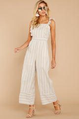3 Unruffled Style Taupe Stripe Jumpsuit at reddressboutique.com