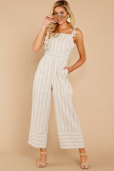 1 Unruffled Style Taupe Stripe Jumpsuit at reddressboutique.com