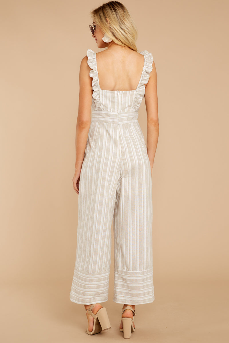5 Unruffled Style Taupe Stripe Jumpsuit at reddressboutique.com