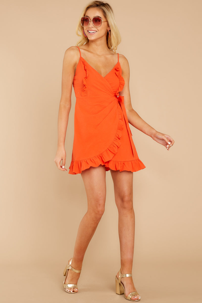 3 Waking Momentum Tangerine Orange Dress at reddressboutique.com