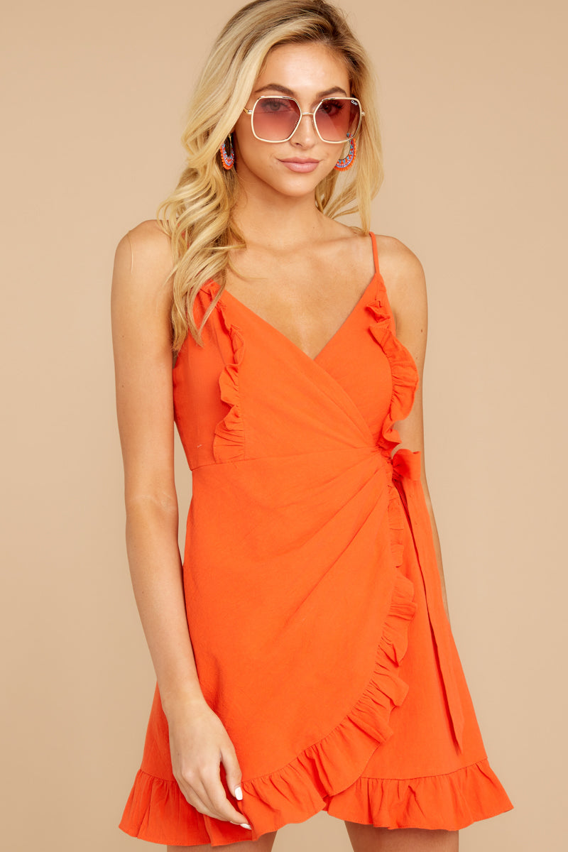 5 Waking Momentum Tangerine Orange Dress at reddressboutique.com