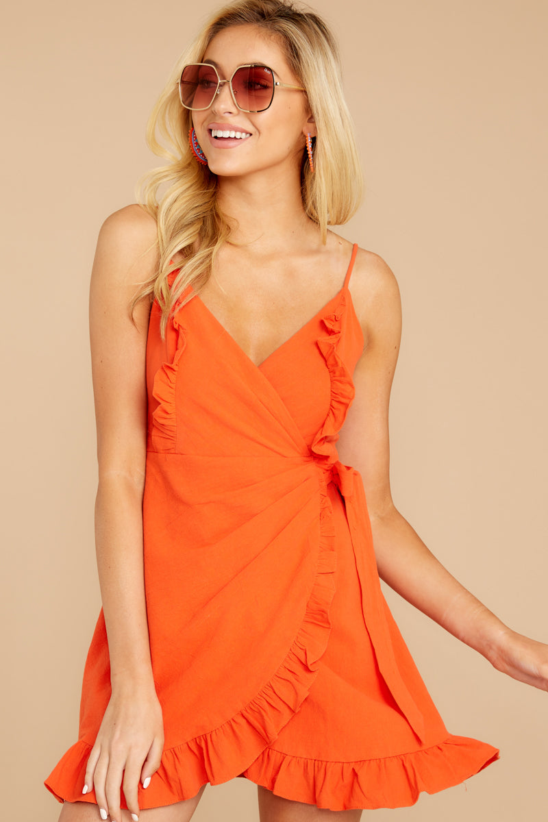 6 Waking Momentum Tangerine Orange Dress at reddressboutique.com