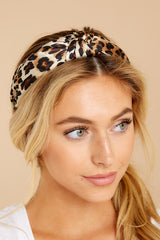 1 Knot Tamed Leopard Print Headband at reddressboutique.com