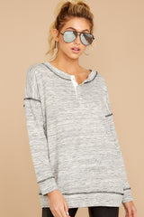 Tunnel Vision Marled Grey Long Sleeve Top