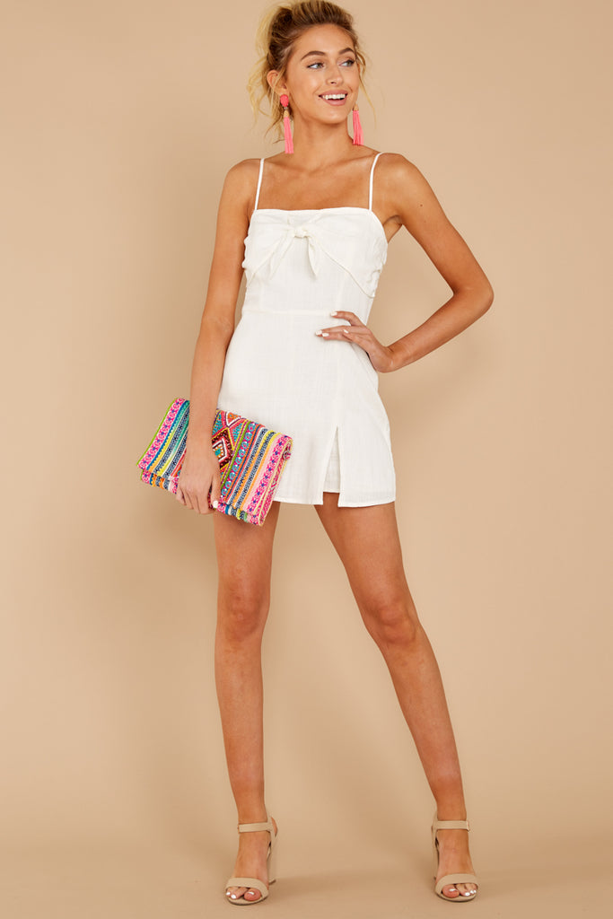1 Find The Moment White Cold Shoulder Romper at reddressboutique.com