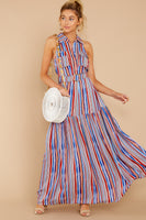 Polyester Striped Print Belted Racerback Pocketed Dropped Natural Waistline Collared Halter Full-Skirt Shift Maxi Dress