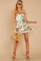 A-line Short Floral Tropical Print Princess Seams Waistline Shirred Back Zipper Sweetheart Dress With a Ribbon and Ruffles