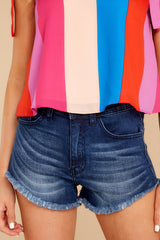 4 Under The Radar Dark Wash Cut Off Denim Shorts at reddressboutique.com