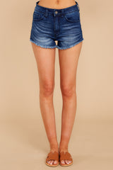 Under The Radar Dark Wash Cut Off Denim Shorts
