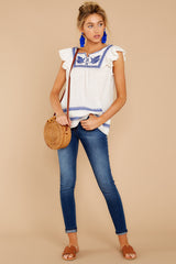 2 There You Go Again White And Blue Embroidered Top at reddressboutique.com