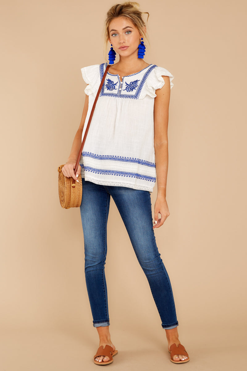 3 There You Go Again White And Blue Embroidered Top at reddressboutique.com