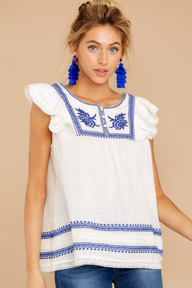 4 There You Go Again White And Blue Embroidered Top at reddressboutique.com