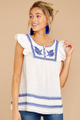 5 There You Go Again White And Blue Embroidered Top at reddressboutique.com